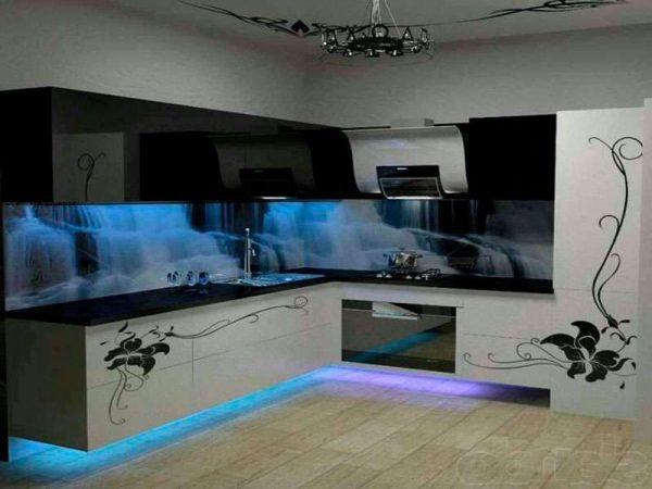 3д фотообои в кухне со светодиодным рисунком