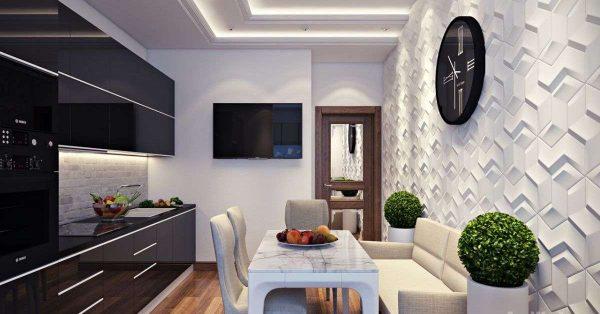 3д фотообои в интерьере кухни с объемным рисунком