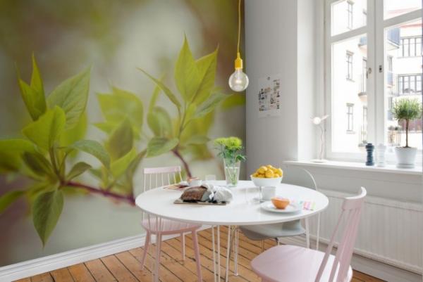 3д фотообои в интерьере кухни с ветками деревьев