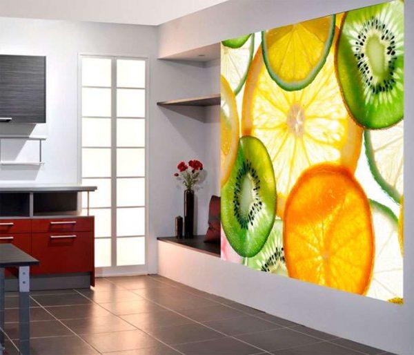 3д фотообои в интерьере кухни с цитрусами