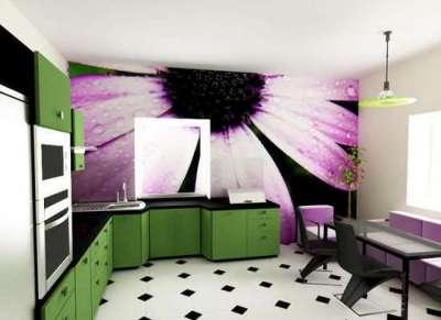 3д фотообои с цветком в интерьере кухни