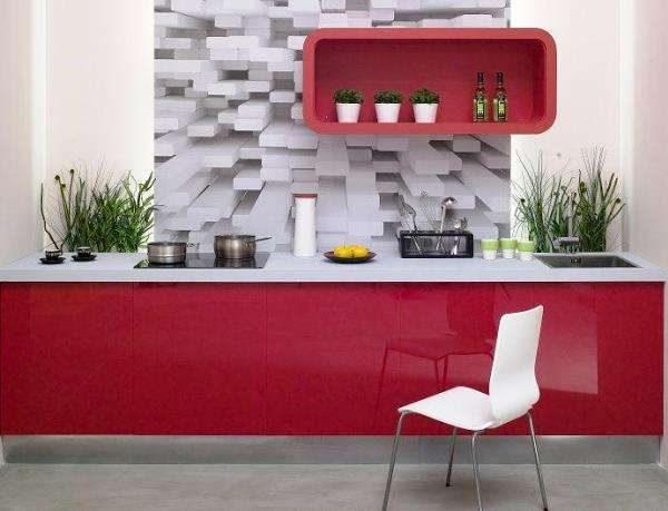 3D фотообои на кухне