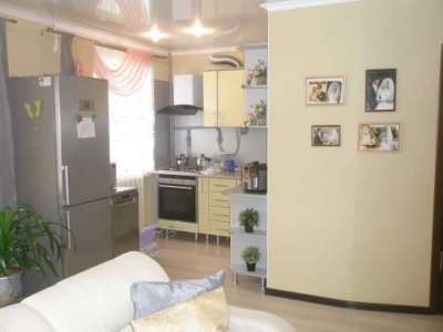 холодильник на маленькой кухне гостиной в проёме