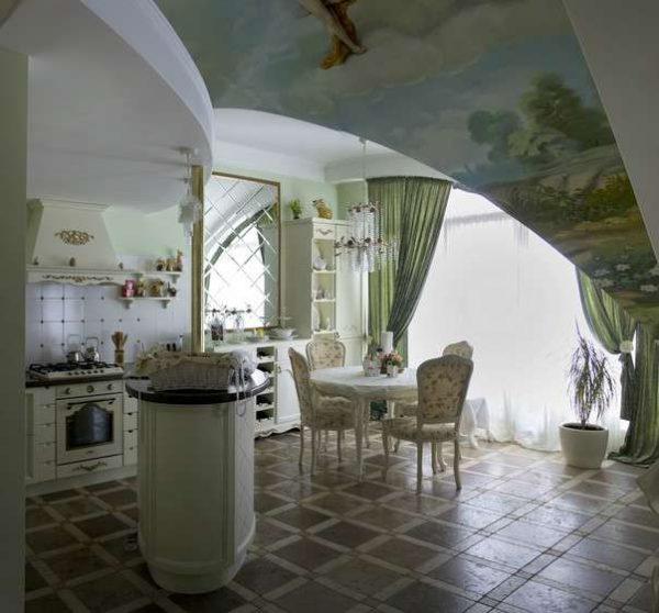столовая зона кухни в итальянском стиле