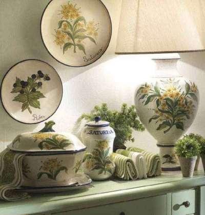 декор с изображением оливок на кухне в итальянском стиле