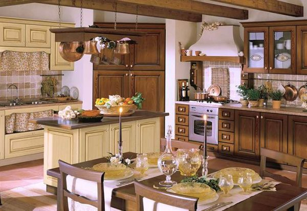 песочный и коричневый цвет на кухне в итальянском стиле