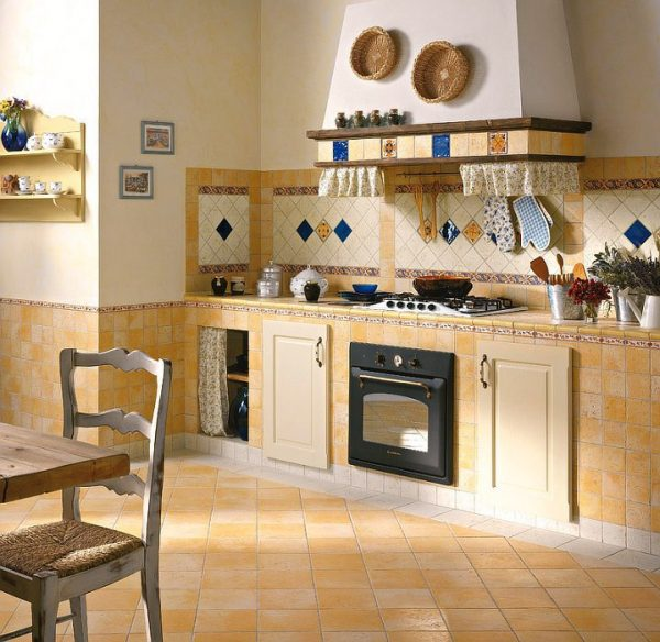 фартук и полы из плитки на кухне