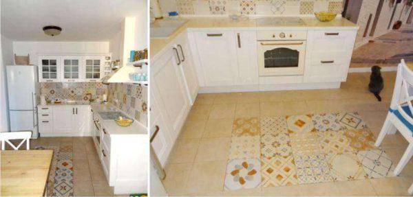 кафель на полу и в качестве фартука на кухне