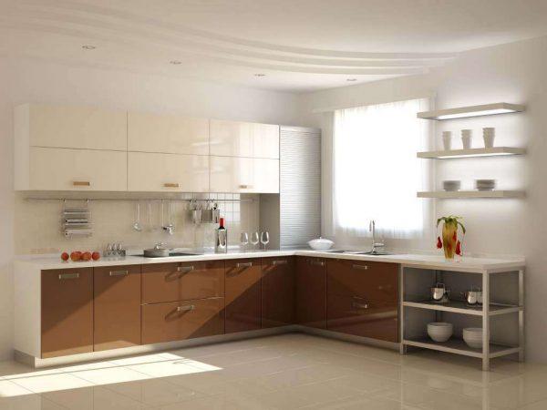 кухня цвета капучино с глянцевыми фасадами