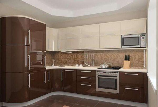 кухня кофейных оттенков с глянцевыми фасадами
