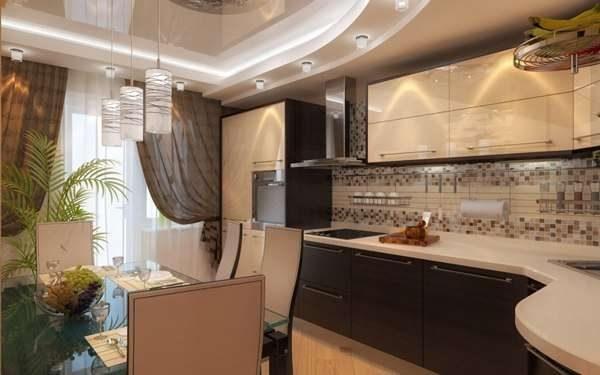 шторы на кухне кофе с молоком с глянцевыми фасадами