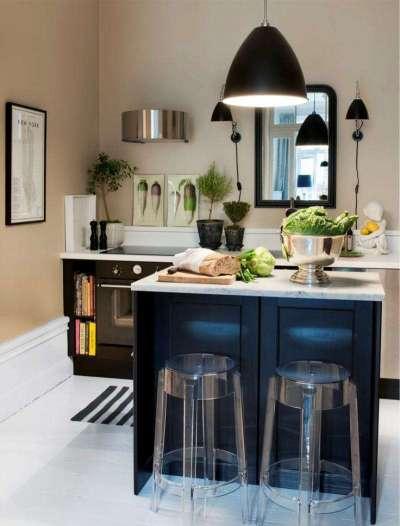 островная кухня без верхних шкафов