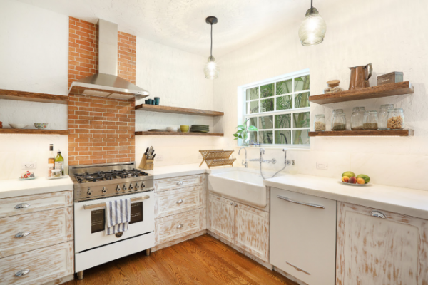 кухня кантри без навесных шкафов