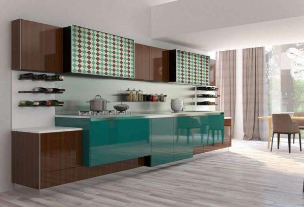 линейный кухонный гарнитур мятного оттенка