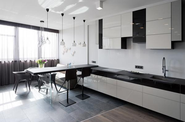 прямой чёрно-белый кухонный гарнитур