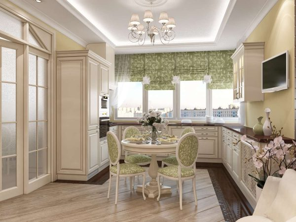 светлый кухонный гарнитур классика