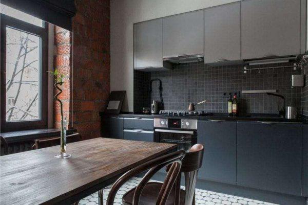 серый лофт кухонный гарнитур