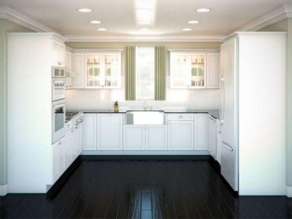 П-образная планировка белой кухни