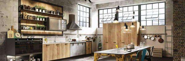 деревянный кухонный гарнитур лофт