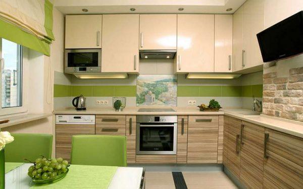 зелёно бежевый кухонный гарнитур угловой