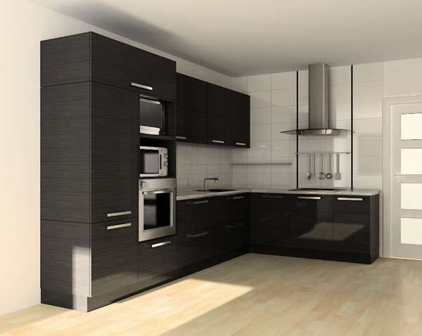 Г-образная чёрная кухня