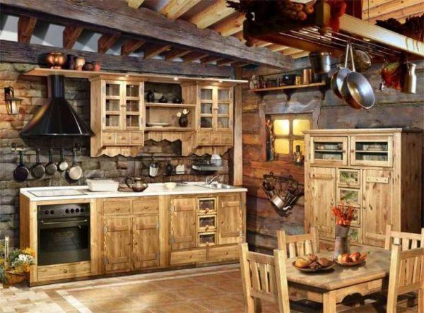 деревянный дом с кухней, сделанной своими руками