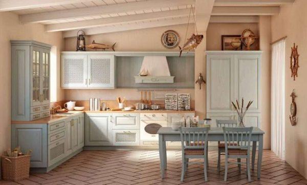 голубая кухня из дерева своими руками