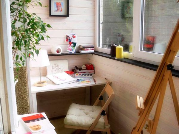 рабочий кабинет на балконе или лоджии