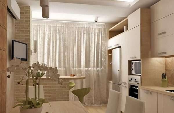 шторы на кухне на балконе или лоджии