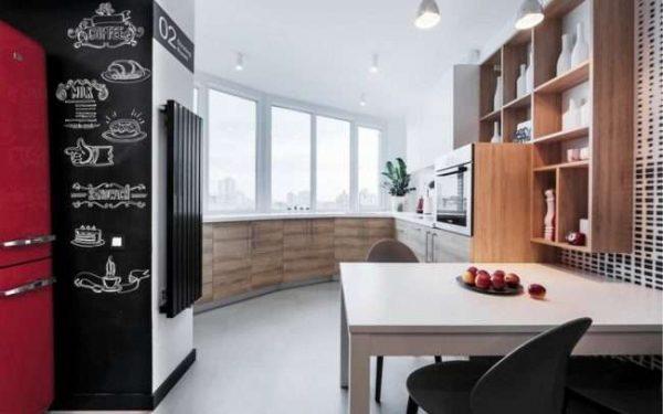 гарнитур на лоджии совмещённой с кухней