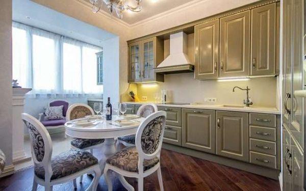 стильный дизайн балкона совмещённого с кухней