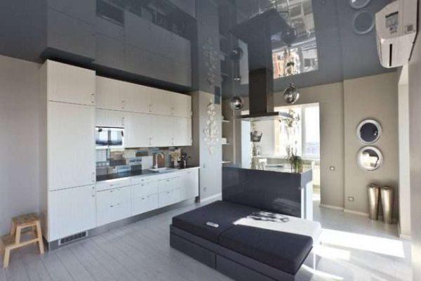 стильное оформление кухни, совмещённой с балконом
