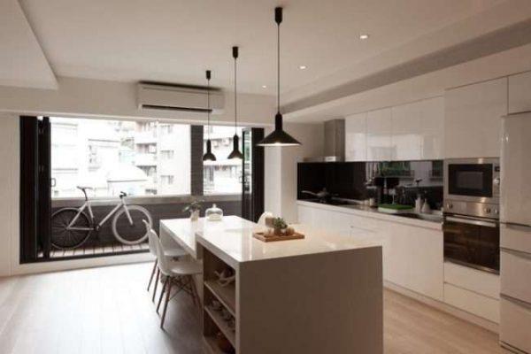 подиум на балконе совмещённом с кухней
