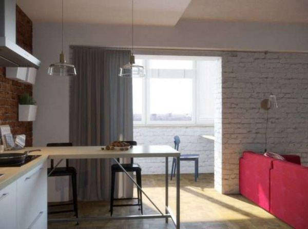 шторы на балконе совмещённом с кухней