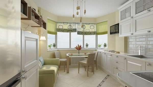 столовая зона в эркере кухни