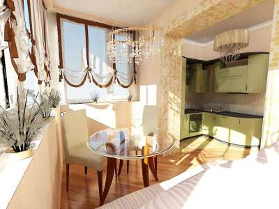 Объединение кухни с балконом - дизайн фото.