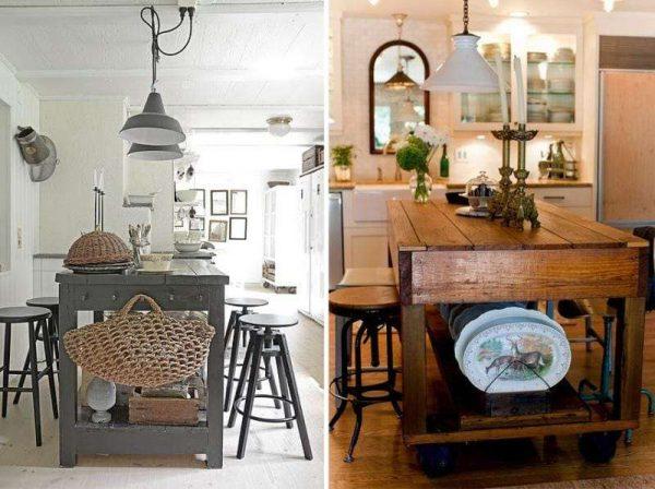 открытые островные столы для кухни