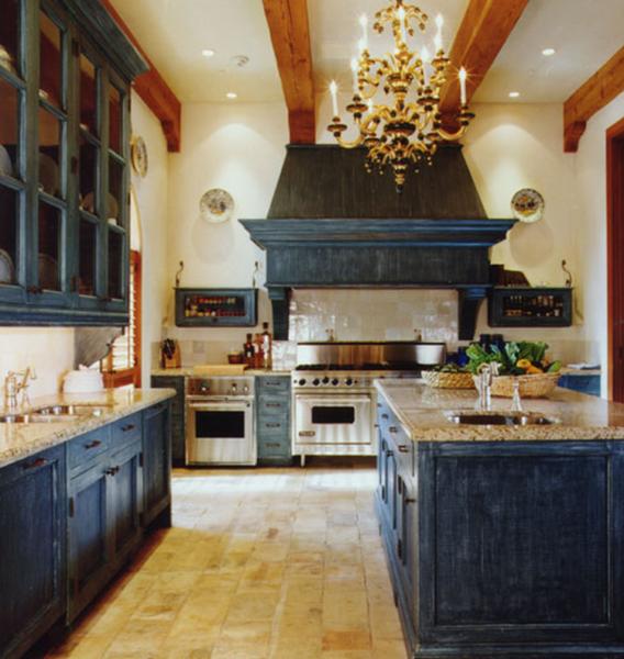 дизайн кухни в стиле кантри с островом