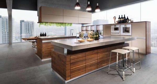 дизайн деревянной кухни с островом