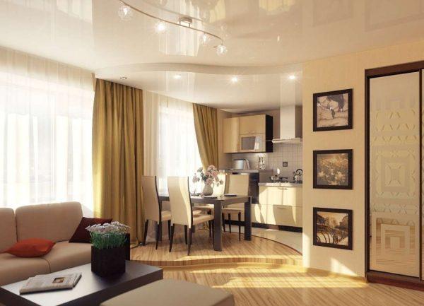 зонирование с помощью потолка на совмещённой кухни гостиной