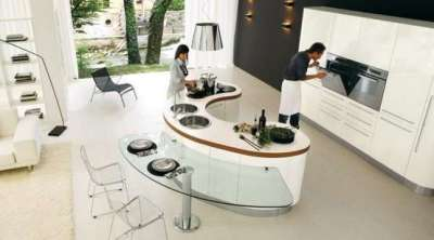 кухонная зона на совмещённой кухне-гостиной