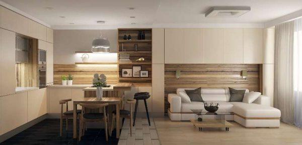 зонирование гостиной от кухни