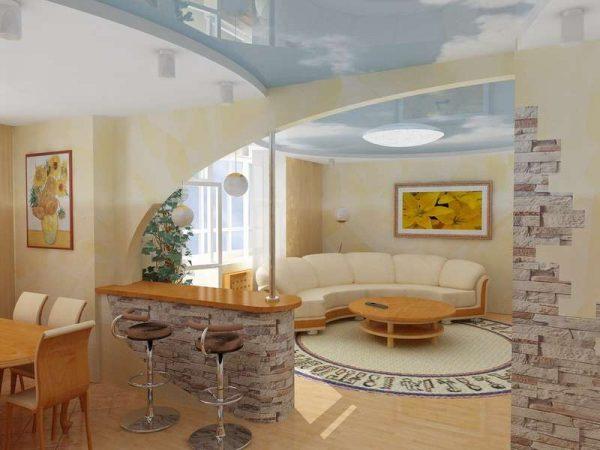 фигурная перегородка на совмещённой кухне с залом