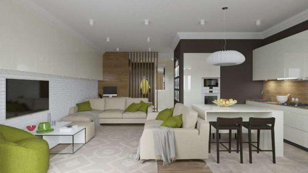 бежевая мебель на совмещённой кухне с залом