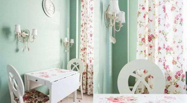 шторы с розами в английском стиле на кухне