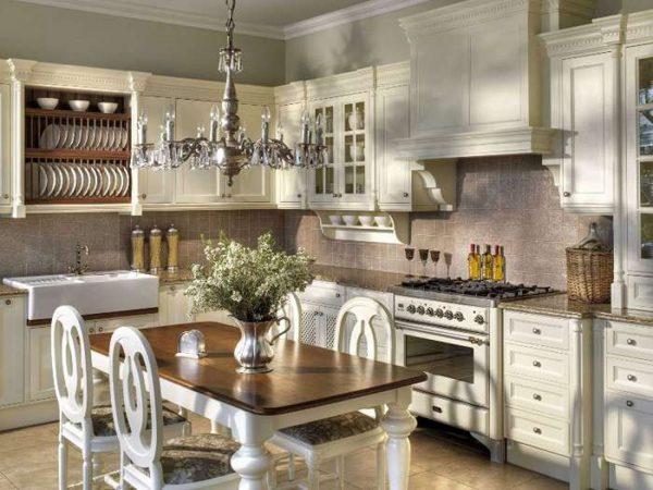 оливковая кухня в английском стиле