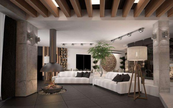 для зонирования используются деревянные балки на потолке кухни гостиной