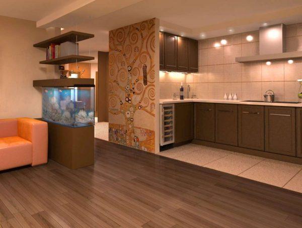 дизайн полов разных фактур на кухне совмещённой с гостиной в частном доме