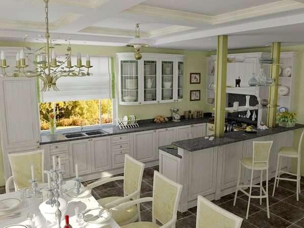 барная стойка на кухне совмещённой с гостиной в частном доме