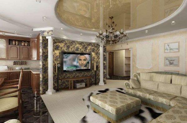 зонирование с помощью отделки стен на кухне совмещённой с гостиной в частном доме